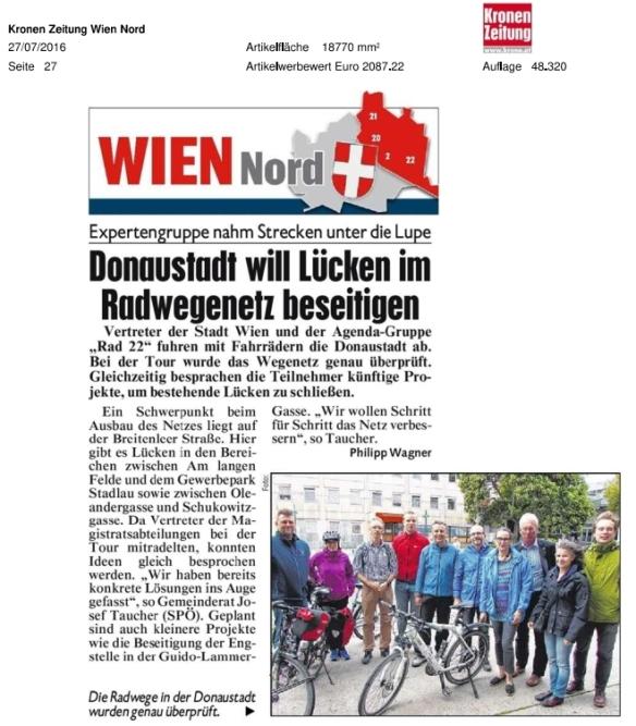 Kronen Zeitung Radwegecheck